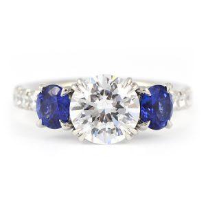 Round Blue Sapphire & Diamond Engagement Ring