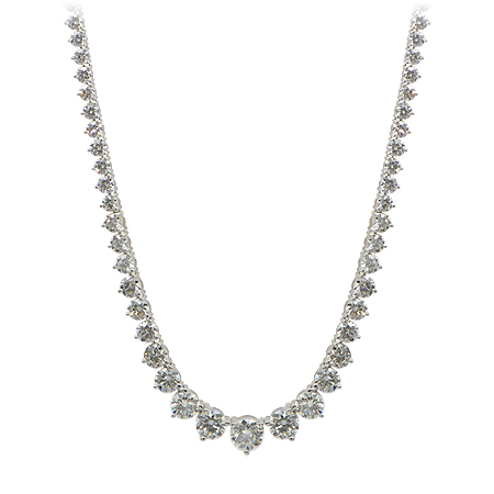 Graduated Diamond Riviera Necklace with Round Brilliant Cut Diamonds