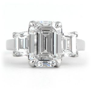 Custom Designed Emerald Cut Engagement Ring in Platiinum