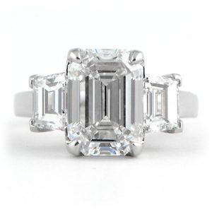 Custom Designed Emerald Cut Engagement Ring in Platiinum