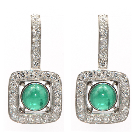 Custom Cabochon Emerald and Diamond Earrings