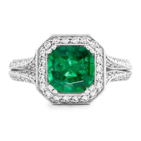 emerald halo platinum ring