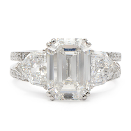 Emerald Cut 3-Stone Engagement Ring Front