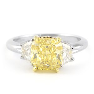 Yellow Diamond Engagement Ring with Half Moon Side Stones
