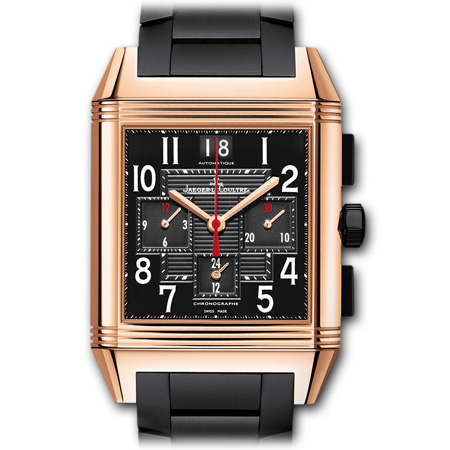 Reverso Squadra Chronograph GMT men's watch by Jaeger LeCoultre in Pink Gold