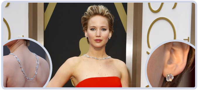 Jennifer Lawrence dress and jewelry at 2014 Academy Awards