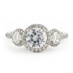Three stone Halo Diamond Engagement Ring