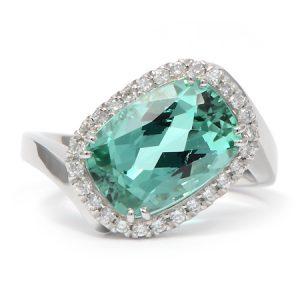 Mint Tourmaline & Diamond Ring in Platinum