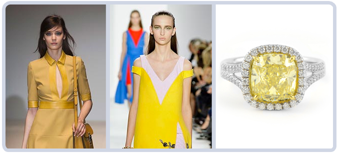 Yellow Fashion on Runway Diamonds