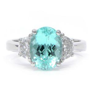 Paraiba & Diamond Ring by JB Star in Platinum