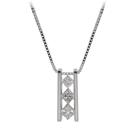 Princess Cut Diamond Ladder Pendant