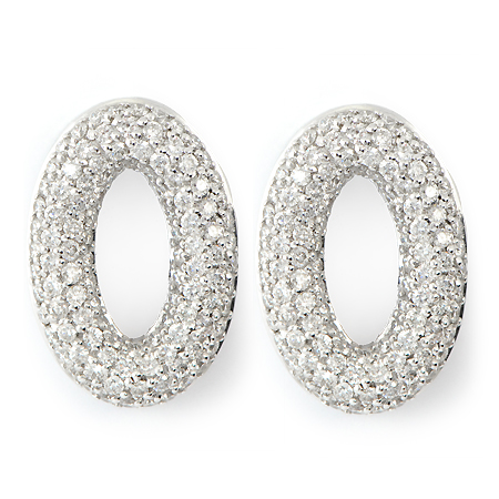 Round Pave Diamond Earrings by Roberto Coin