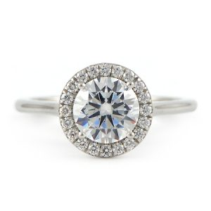 Platinum Halo Engagement Ring with Round Diamond