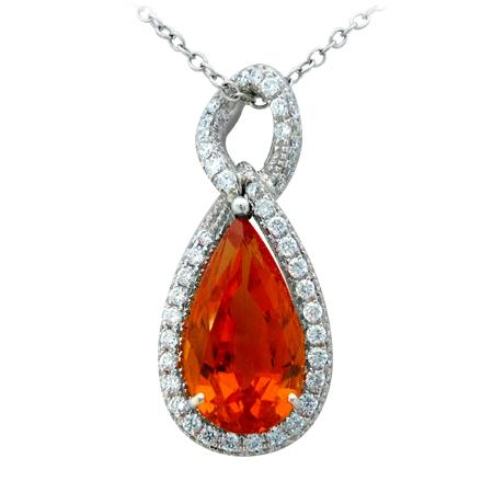 Custom Orange Garnet Pendant