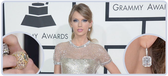 Taylor Swift Diamond Earrings and Cocktail Ring at Grammy Awards in 2014