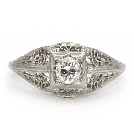 Vintage Engagement Ring with Transitional Cut Diamond