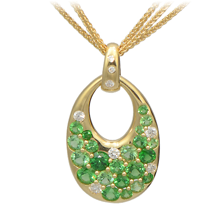 Tsavorite Garnet Pendant in Yellow Gold