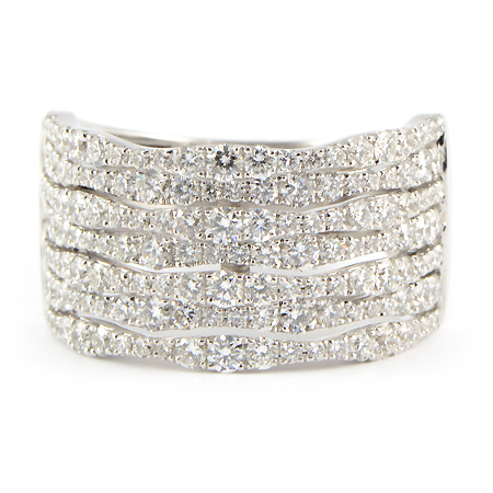 Wide Band Pave Diamond Ring in White Gold