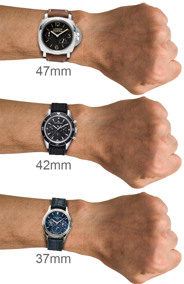 Watch Sizes on wrists
