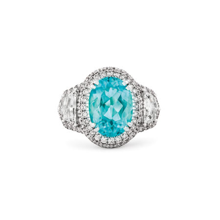 Paraiba Tourmaline ring custom in platinum
