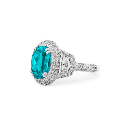 Paraiba Tourmaline platinum ring
