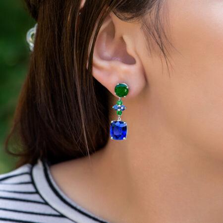 Sapphire & Emerald Earrings