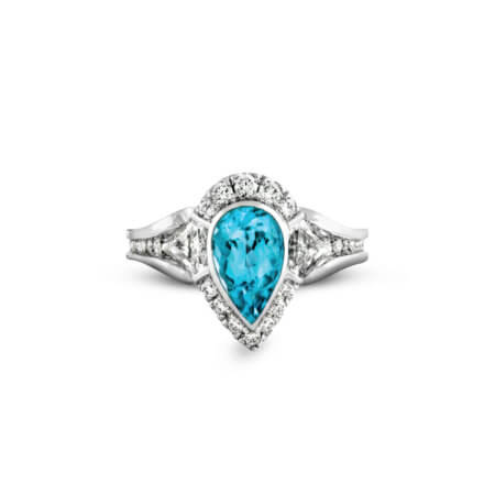 Pear-shaped Paraiba Tourmaline and Diamond Ring