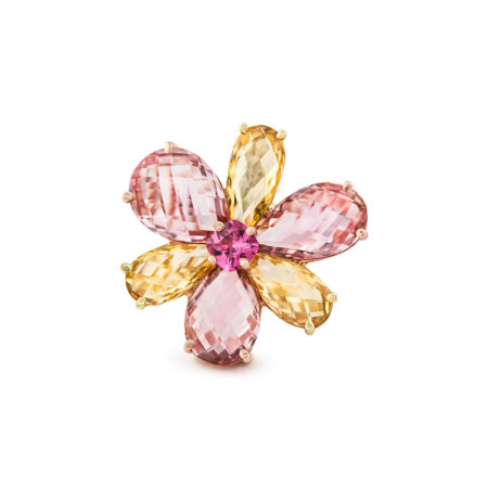 Multi-colored Gemstone Flower Ring