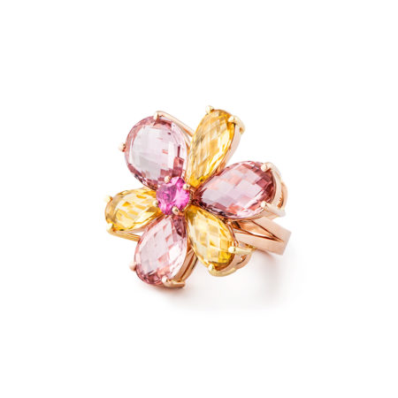 Tourmaline Colored Gemstone Ring with Flower Design