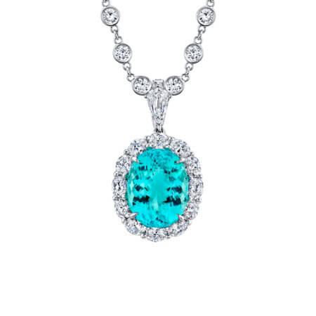 Oval Paraiba Tourmaline and Diamond Necklace in Platinum