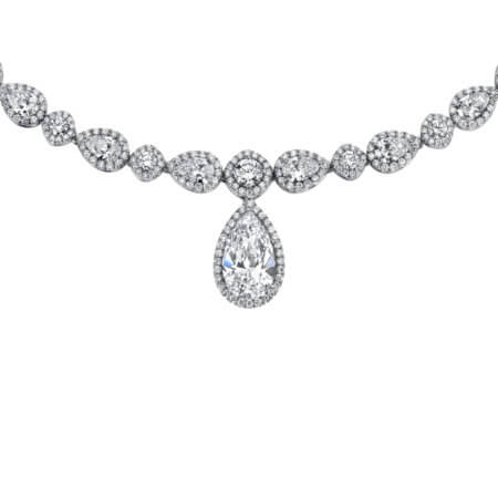 Pear-shaped diamond riviera necklace