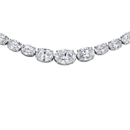 Oval Diamond Riviera Necklace set in Platinum