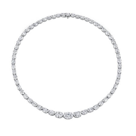 Oval-Shaped Diamond Necklace GIA-certified