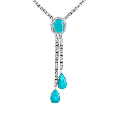 Cabochon Paraiba Tourmaline and Diamond Lariat Necklace