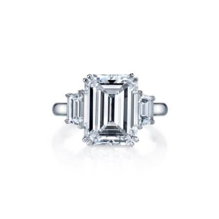Three-Stone Emerald Cut Diamond Engagement Ring