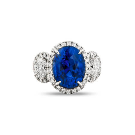 Three Stone Blue Sapphire and Diamond Ring