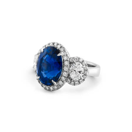 Oval Ceylon Blue Sapphire Ring with Diamond Halo