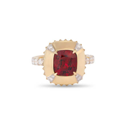 Red Spinel Ring with Diamonds in Yellow Gold