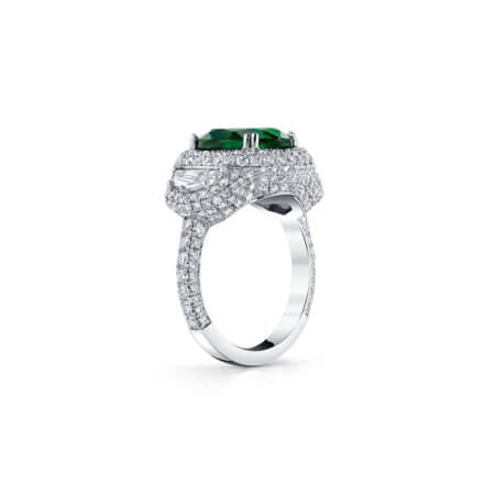 Oval Green Emerald and Diamond Ring