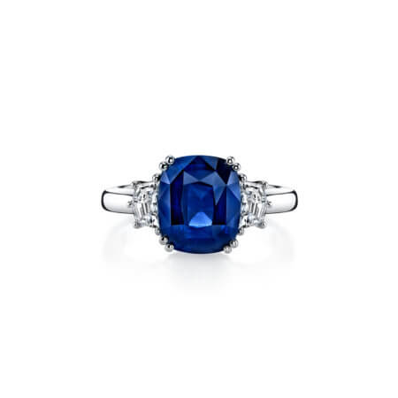 Ceylon Blue Sapphire Ring Cushion Cut