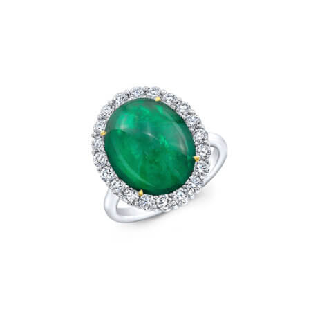 Cabochon Green Emerald Ring with Diamond Halo