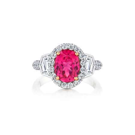 Pink Spinel Gemstone Ring with Diamond Halo and Pave Diamonds