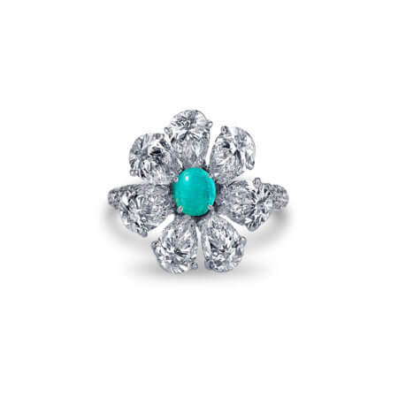Custom Brazilian Paraiba Tourmaline and Diamond Ring