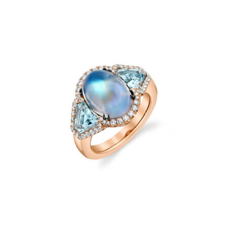 Moonstone and Aquamarine Gemstone Ring in Rose Gold with Diamonds