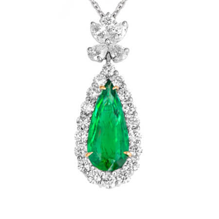 Pear Shape Green Emerald Drop Pendant with Diamonds