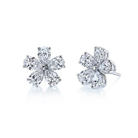 Diamond Flower Stud Earrings with Pear Shaped Diamonds