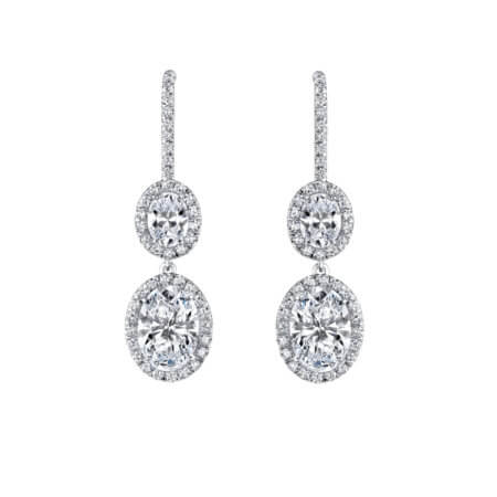 Elegant Oval Diamond Drop Earrings with Diamond Halos