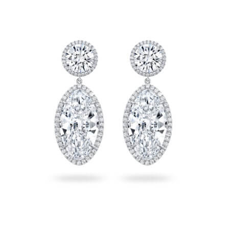 Oval Diamond Dangle Earrings with Diamond Halos in Platinum