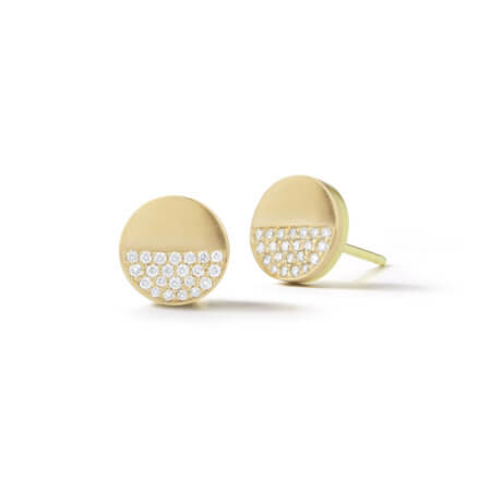Pave Circle Button Earrings in Yellow Gold