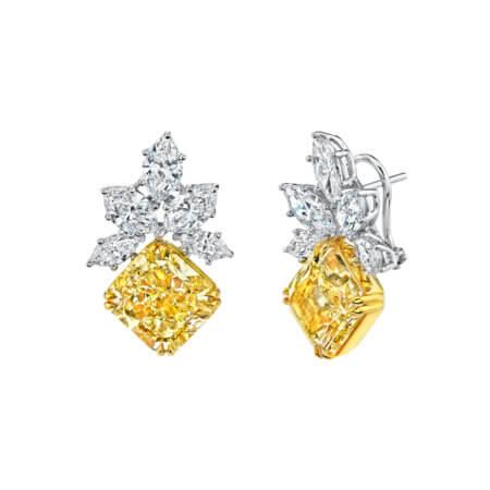 Yellow Diamond Dangle Earrings